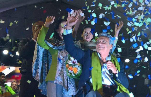 Lenín Moreno celebra la victoria electoral, el pasado domingo. / FB Lenín Moreno,lenin moreno