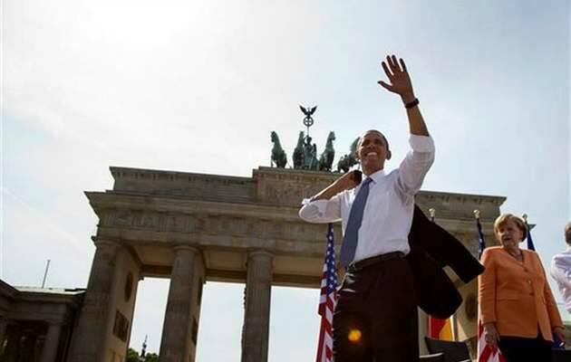 Obama y Merkel en la Puerta de Brandemburgo en 2013 / Evan Vucci, AP Photo,Barack Obama, Ángela Merkel