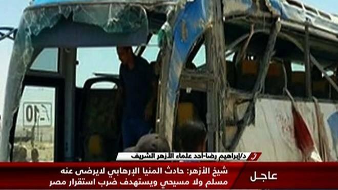 Captura de la televisión egipcia Nile News que muestra uno de los autobuses atacados. AFP,terrorismo, cristianos coptos