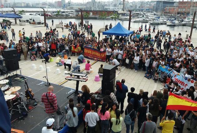 Los evangélicos realizaron un acto público al finalizar la marcha. / CEG,