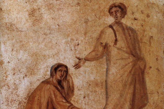 Fresco en las Catacumbas en Roma, del siglo IV.,
