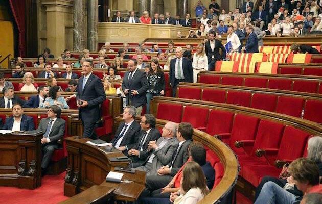 Parte de la oposición se retiró para la votación de la ley del referéndum, el pasado miércoles.,
