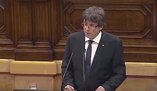 Carles Puigdemont, durante su comparecencia. / Youtube,