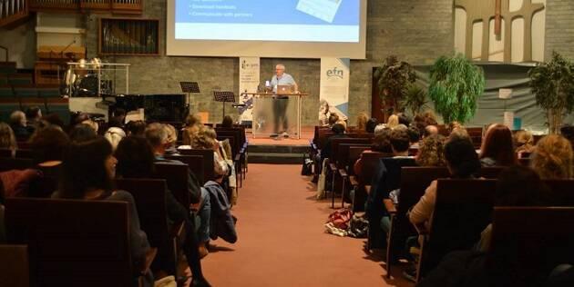 Un de la sesiones de la conferencia Bridge de la European Freedom Network, en octubre en Berlín. / Iona Hulmenicu,