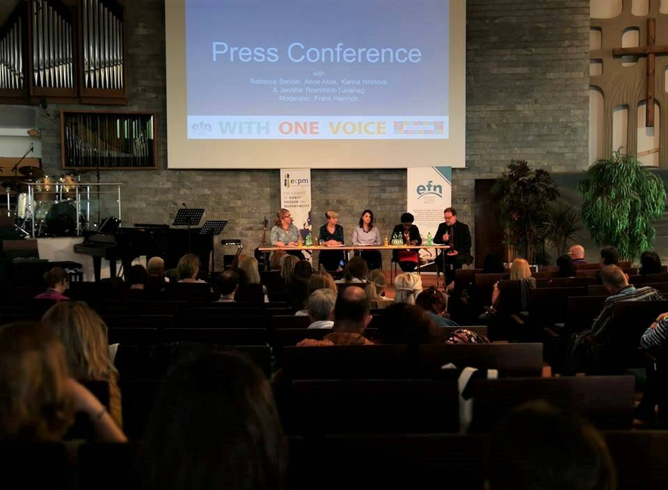 La conferencia de prensa el Día Antitráfico de la Unión Europea. / EFN