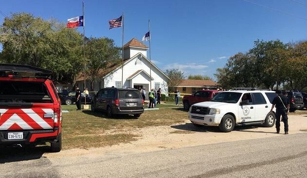 La iglesia bautista atacada. / Twitter Max Massey,