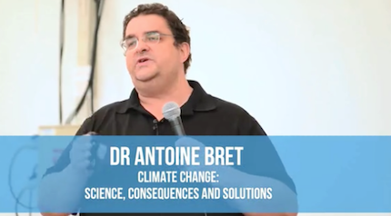 El doctor Antoine Bret, desde España, expuso sobre cambio climático. / A Rocha