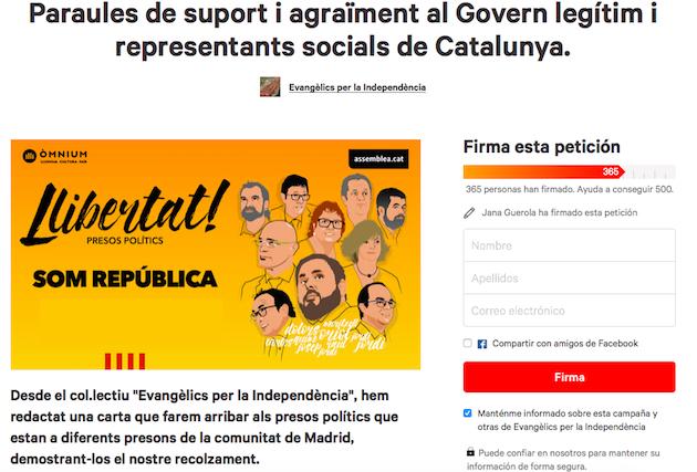 Captura de pantalla de la carta y petición en Change.org.,