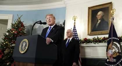Trump, durante su declaración sobre Jerusalén en la Casa Blanca / AP