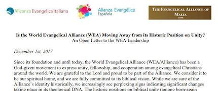 Extracto de la carta abierta de la Alianza Evangélica Italiana, la Alianza Evangélica Española y la Alianza Evangélica de Malta.