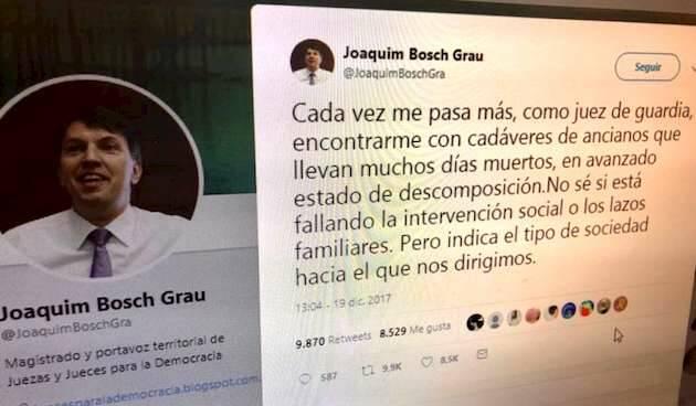 El tuit de Joaquim Bosch / Twitter,Joaquim Bosch