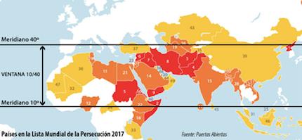 Comparativa de países donde la iglesia es perseguida y de la franja donde se encuentran la mayoría de pueblos no alcanzados por el Evangelio.