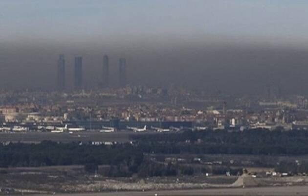 La contaminación en Madrid en octubre de 2017, vista desde un punto al este de la ciudad.,