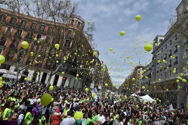 Suelta de globos en Madrid, en la Marcha Sí a la Vida celebrada este 15 de abril. / FB Sí a la Vida,
