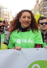 Remedios Losada, en la cabecera de la marcha. / Susana Feito