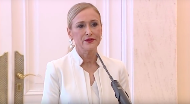 Cristina Cifuentes, durante su comparecencia. / El País TV,