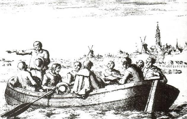 Anabautistas reunidos en secreto en la barca de Peter Piersz. Una ilustración de Jan Luyken.,