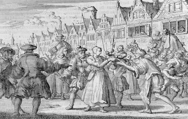 Una mujer anabautista conducida a su ejecución.,