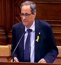 El candidato Joaquim Torra, en un momento durante su intervención. / Canal Parlament