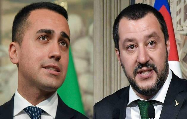 Luigi di Maio y Mateo Salvini, líderes del Movimiento 5 Estrellas y La Liga. / AFP,