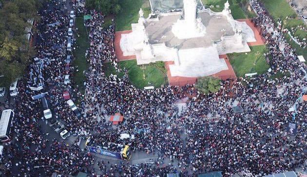 Vista aérea de la marcha en Buenos Aires. / FB Marcha Por la Vida,