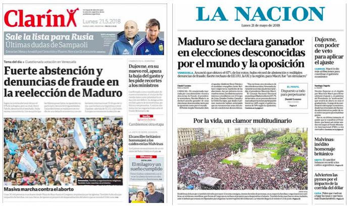 Los principales periódicos del país dedicaron la foto de portada del lunes a las marchas. / Aciera