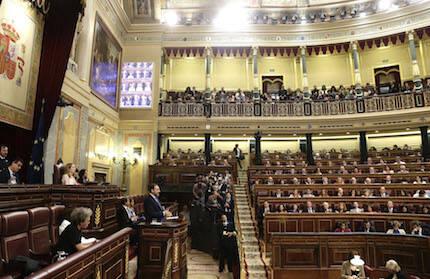 Ábalos, portavoz del PSOE en el Congreso, presentó la moción de censura. / Congreso