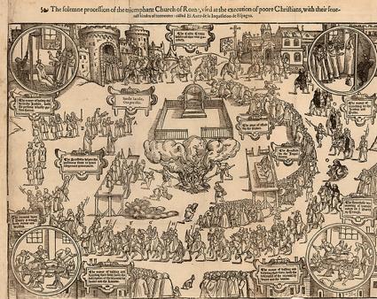 Grabado de auto de fe en Sevilla. Traducción inglesa de Artes de la Santa Inquisición. Londres, John Day, 1569.,