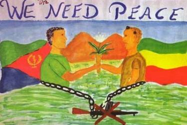 Mural dibujado y pintado por un alumno etíope.