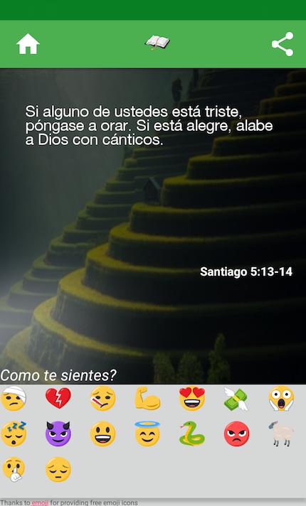 Pulsando en el emoji que refleja tu estado de ánimo, la app te proporciona un versículo.
