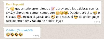 Emojis en conversaciones en Whatsapp.