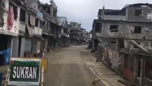 La zona cero de la batalla de Marawi, fotografiada por miembros de Puertas Abiertas en una visita reciente.,