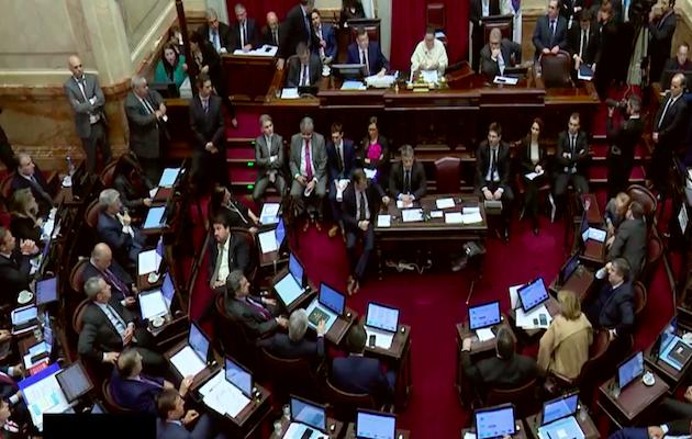 El momento de la votación de la propuesta de ley para despenalizar el aborto en el Senado. / Youtube Senado Argentina,