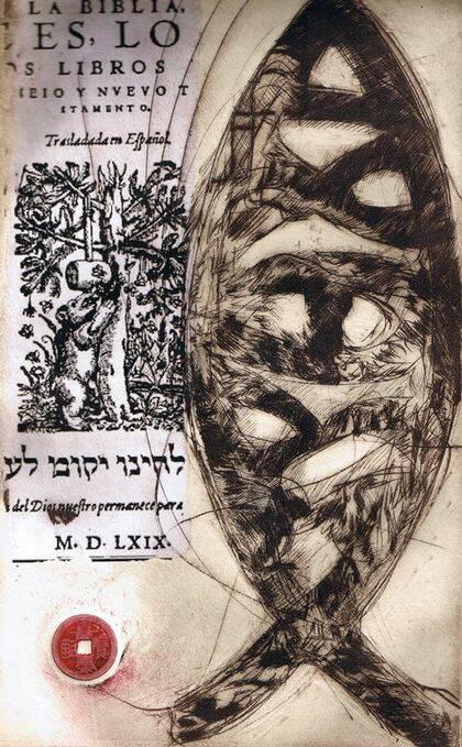 Icthus y Biblia del oso, grabado de Miguel Elías.