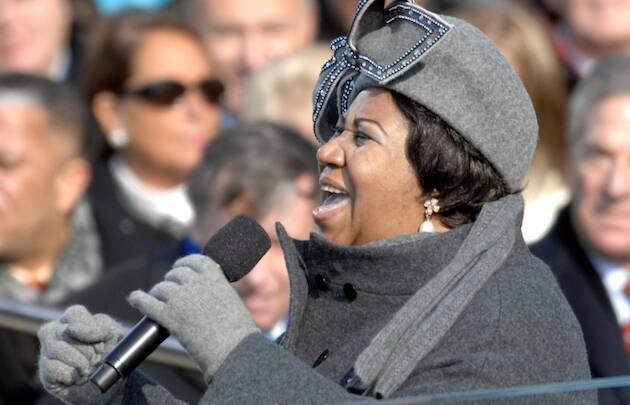Aretha Franklin, actuando en la toma de posesión de Obama en 2009.,