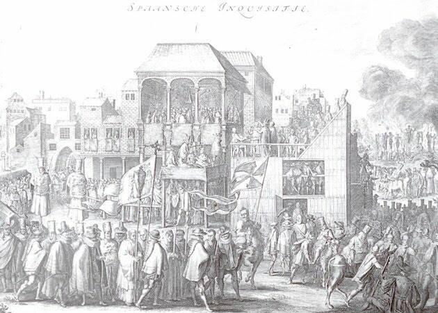 Auto de fe en la Plaza Mayor de Valladolid, en un grabado flamenco del siglo XVII.,