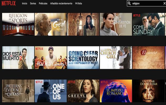 Algunos de los contenidos de carácter religioso en Netflix. / Netflix,