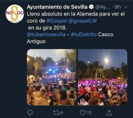 Mensaje de Ayuntamiento en Twitter.