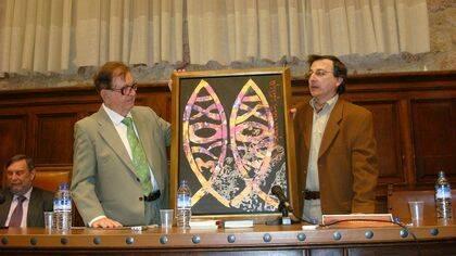 El pintor Elías y  J. A. Monroy en el Aula Unamuno de la Univ. de Salamanca (foto de J. Alencar)