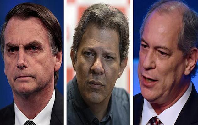 Los tres candidatos más votados en las elecciones de Brasil, por orden de izquierda a derecha, Jair Bolsonaro, Fernando Haddad y Ciro Gomes. / Eso Carneiro, Flickr CC,