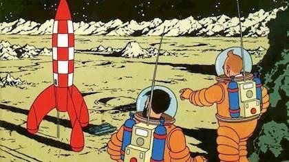 Hergé hizo dos visionarios álbumes dieciséis años antes que Armstrong pisara la luna.