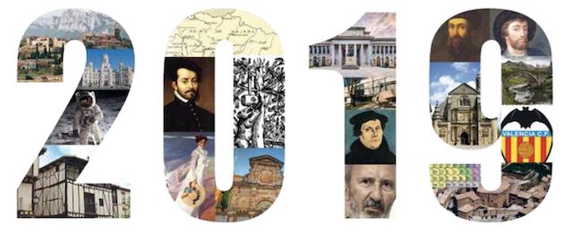 En el montaje realizado por Correos se puede apreciar la figura de la Biblia del Oso y la imagen de Lutero, que será uno de los sellos que editará en 2019. / Boletín Correos septiembre 2018,
