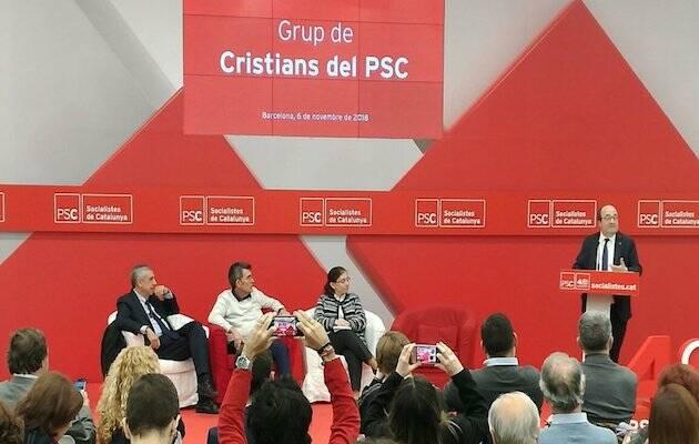 Iceta hablando en el acto de presentación de Cristianos socialistas del PSC. / Twitter Cristians PSC,
