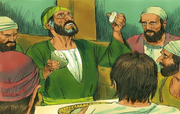 Pablo toma un pedazo grande de pan y ora a Dios. / Free Bible Images (CC),