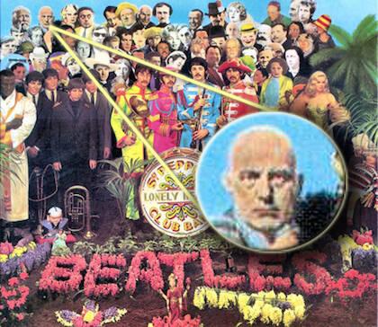 Crowley aparece en la portada del disco Sargeant Pepper de los Beatles.