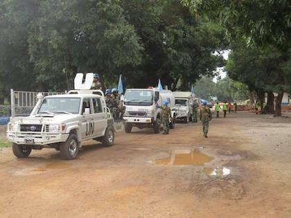 Un contingente de la MONUSCO llevando un punto de agua en el área de Manono. / Facebook Monusco