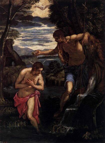 El bautismo de Cristo, de Tintoretto.