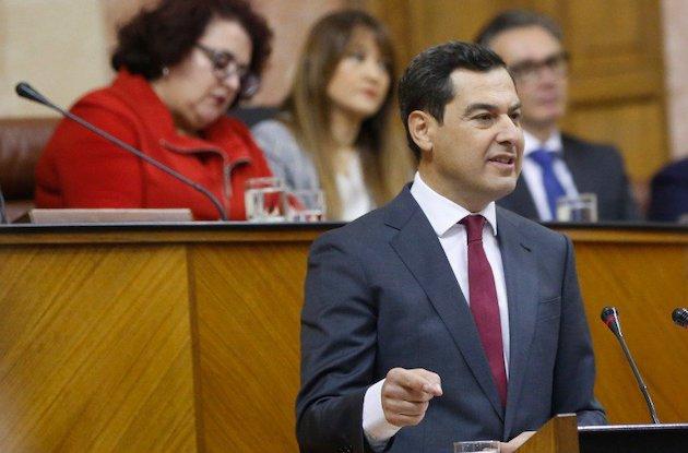 Juan Manuel Moreno, durante su discurso de investidura en el parlamento andaluz. / PP,