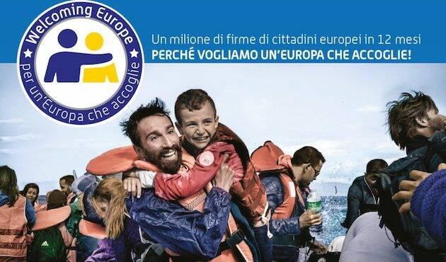 Imagen de la campaña que en Italia recoge firmas para potenciar la acogida de refugiados. / FCEI,