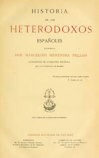 Portada del segundo tomo de Historia de los heterodoxos españoles.